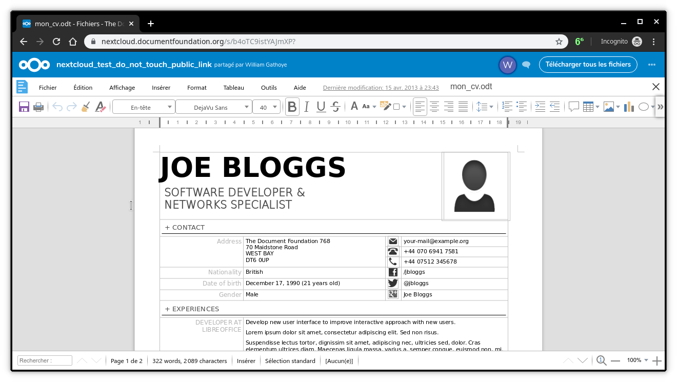 LibreOffice dans un navigateur !