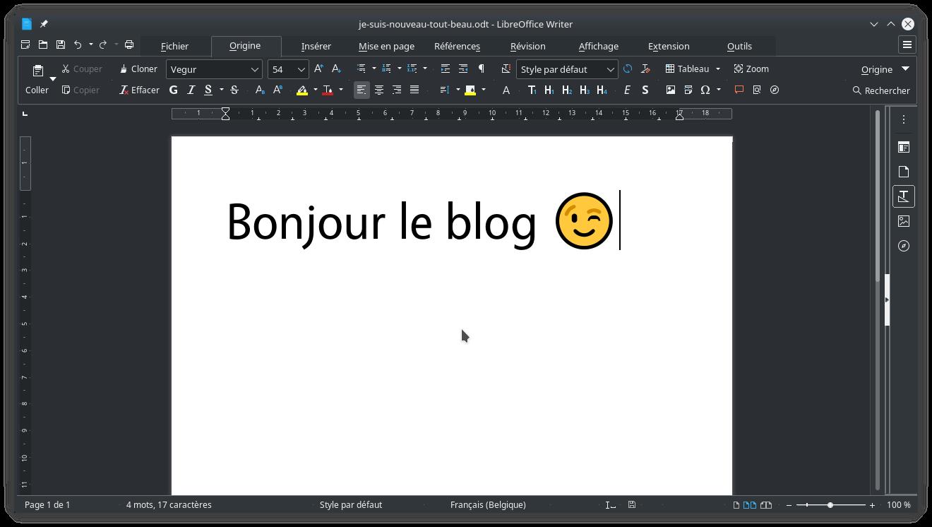 La barre à onglets de LibreOffice avec un thème sombre sous KDE Plasma