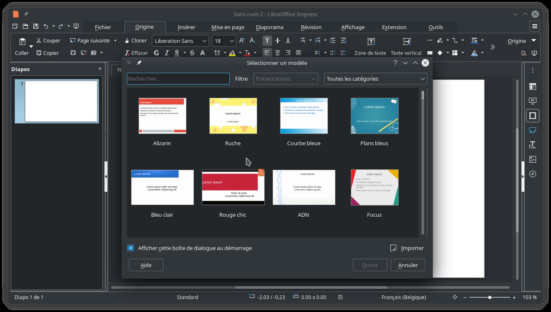 Bibliothèque de modèles sous LibreOffice Impress