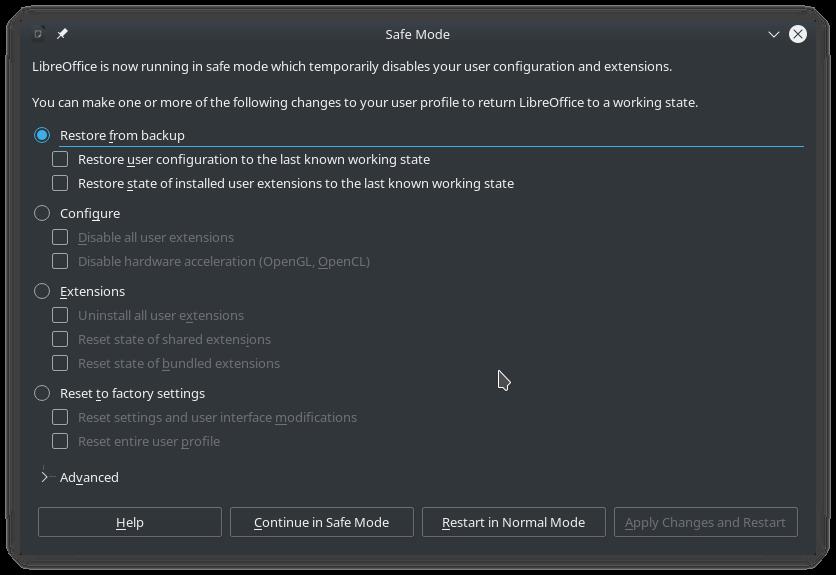 Boite de dialogue apparaissant après que LibreOffice ait été relancé en mode sans échec