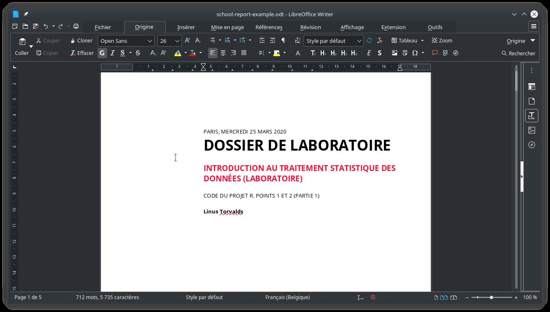 Un rapport de laboratoires avec LibreOffice Writer